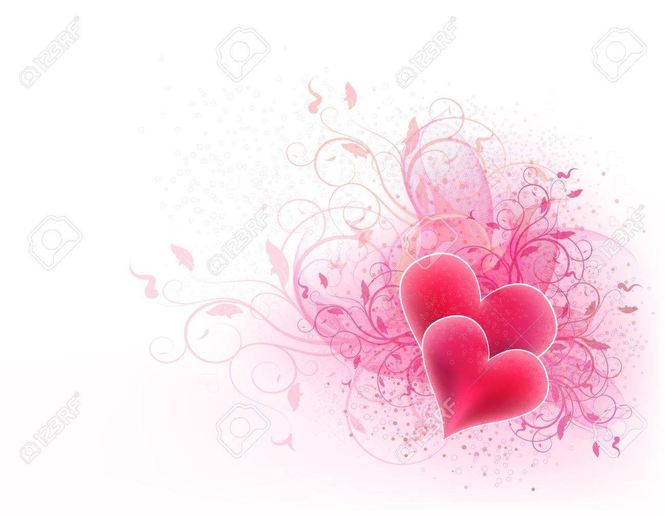 Valentines vector background with floral design and hearts - 12391270