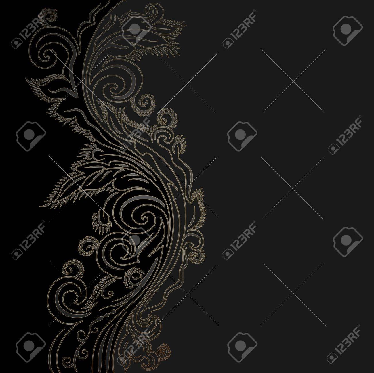 Diseño Negro Y Fondo De Oro Adornado De Vectores Ilustraciones ...