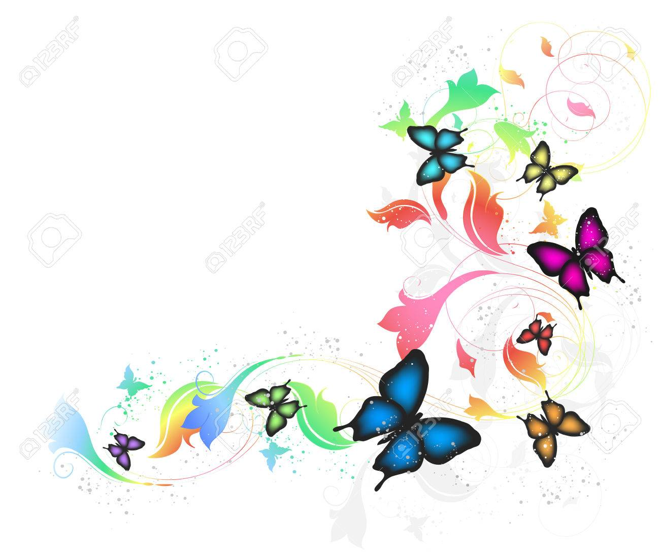Gray Background With Butterflies And Floral Ornate - 26592698