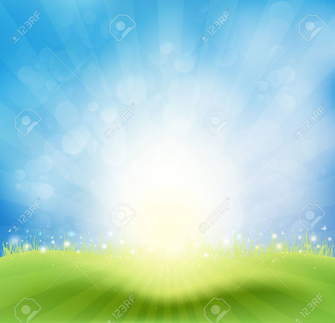 Spring Background With Sky, Sun Rays And Butterflies - 26592696
