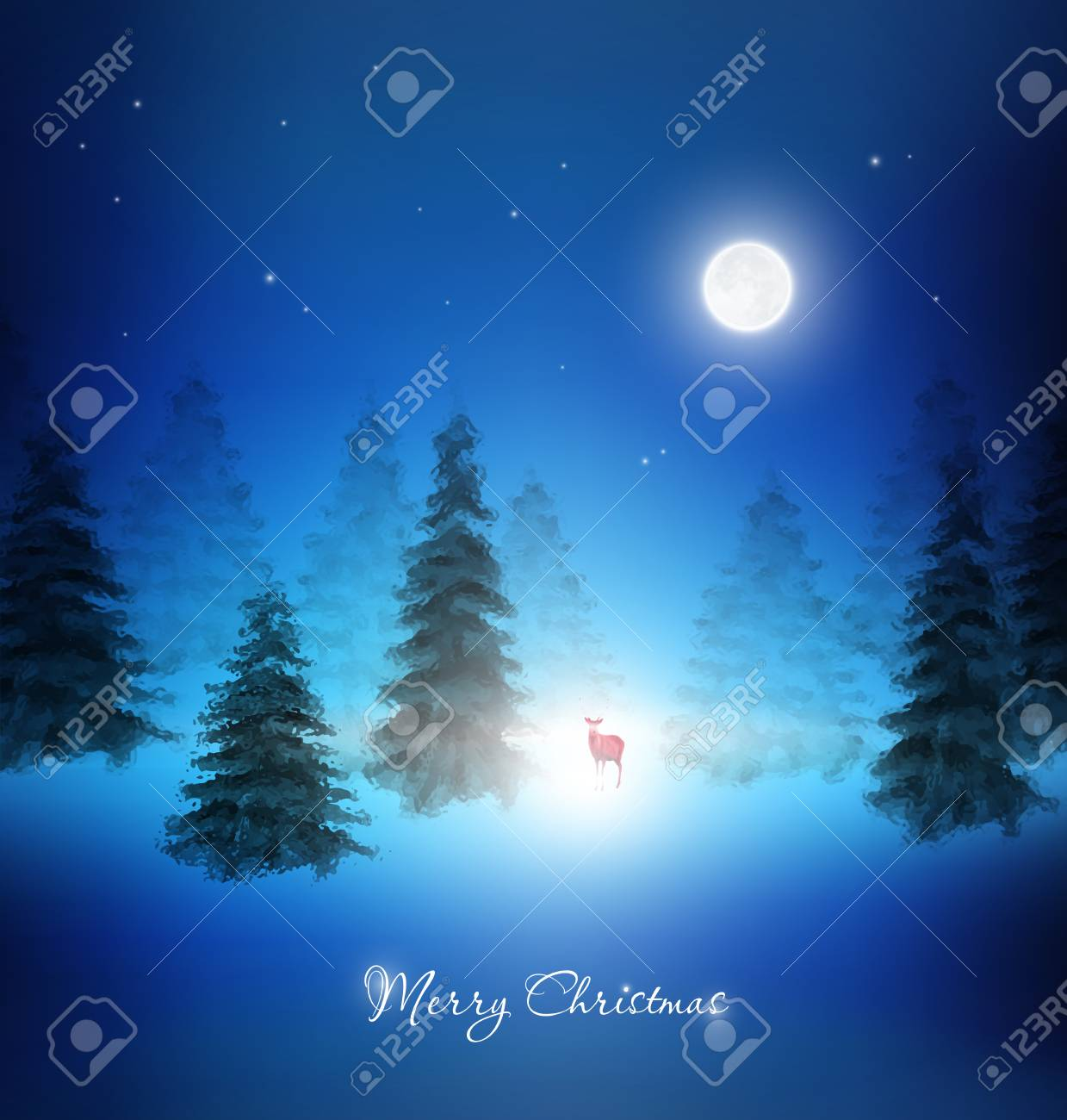 La Notte Di Natale.Priorita Bassa Di Notte Di Natale Wth Renna E Alberi Inverno