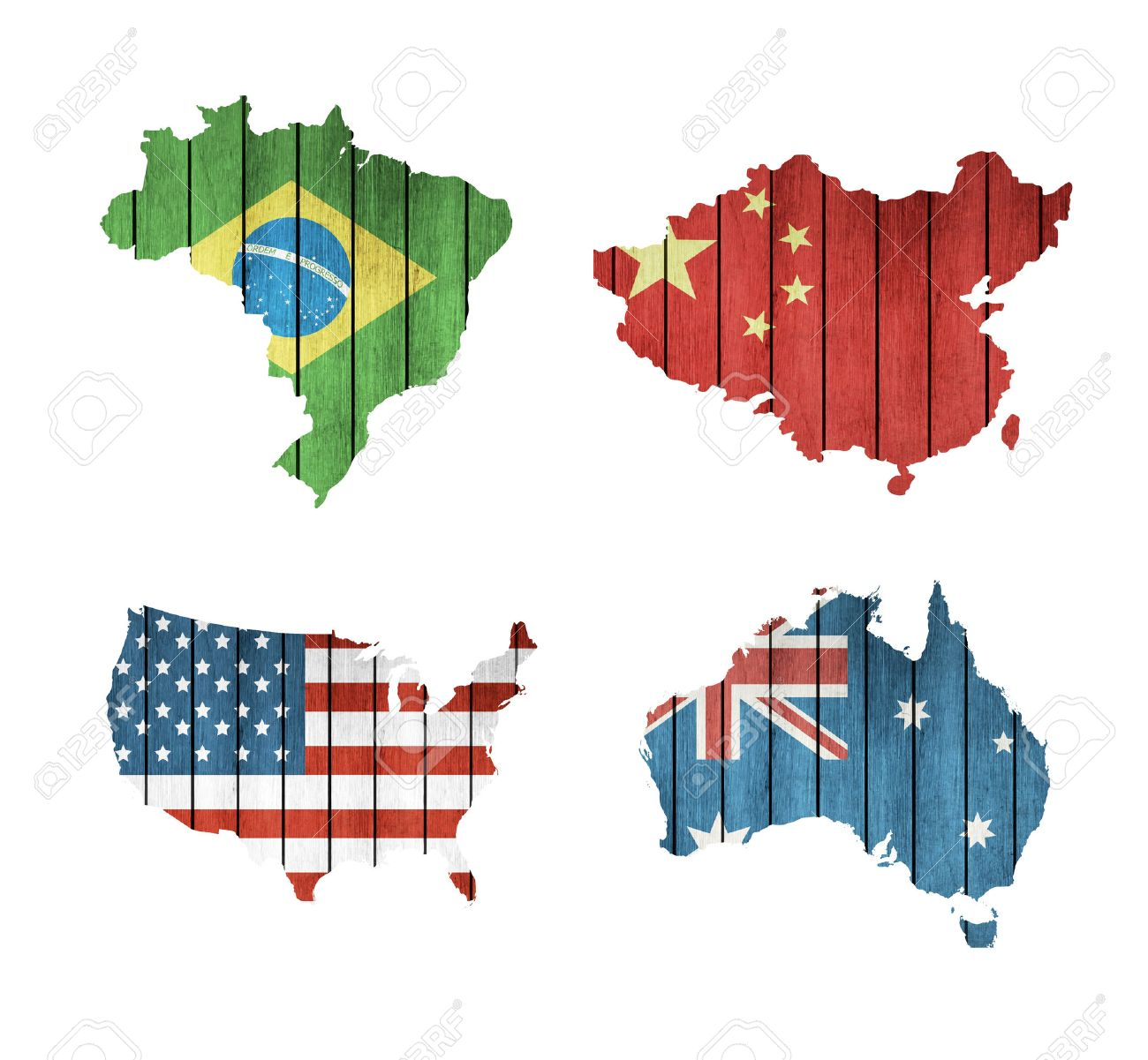 set of maps with wooden flags usa brazil australia and china on a white