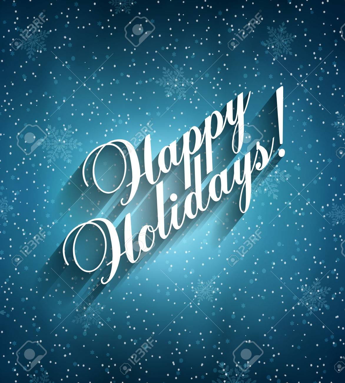 Happy Holidays Background With Snow, Snowflakes And Title Inscription With Shadow - 48130104