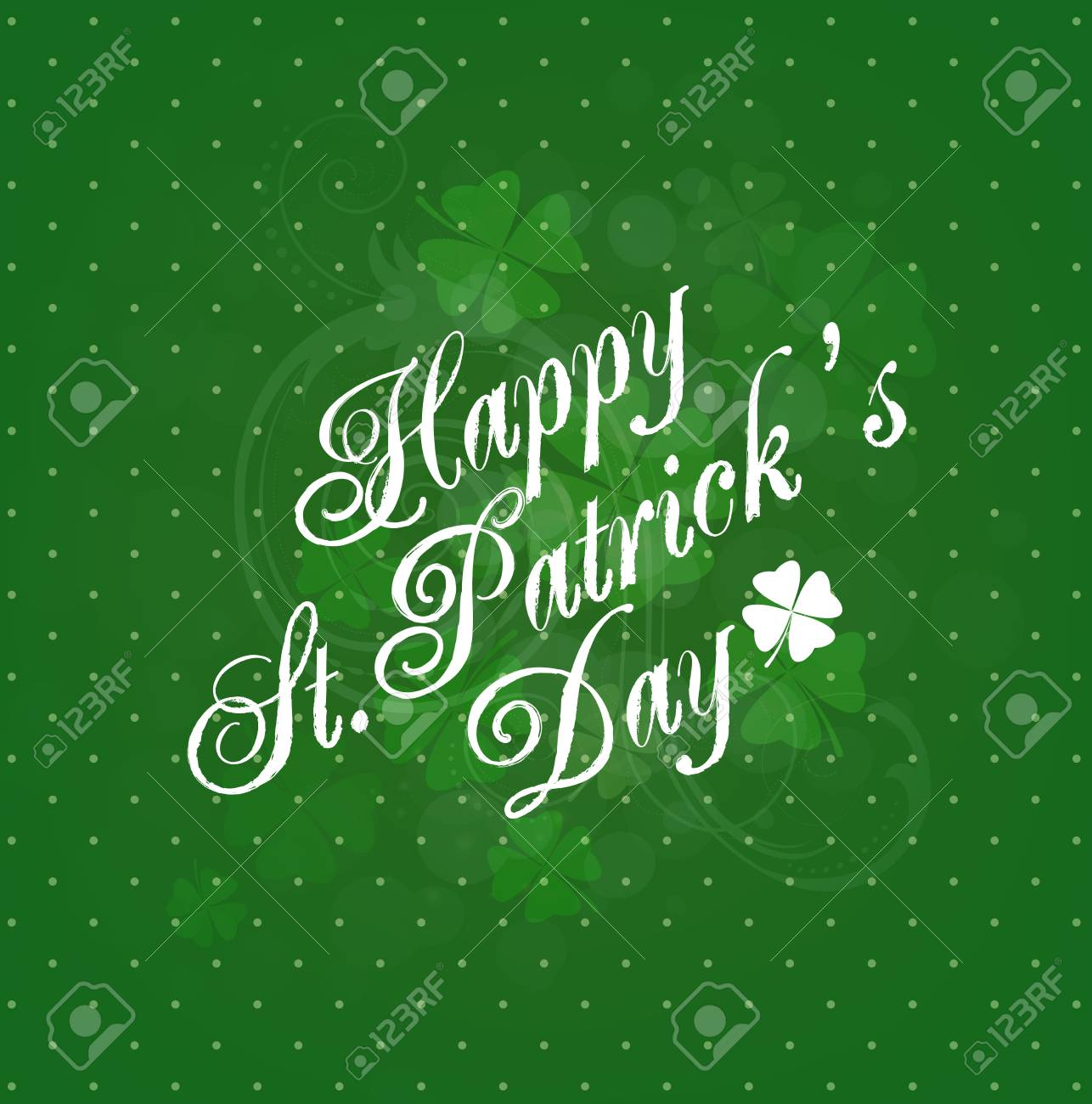 Saint Patrick S Day Background With Clovers And Title Inscription