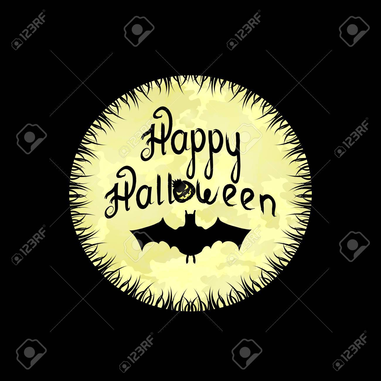 Halloween Background With Moon, Wishes And Bat On A Black Background Stock  Vector   65038200