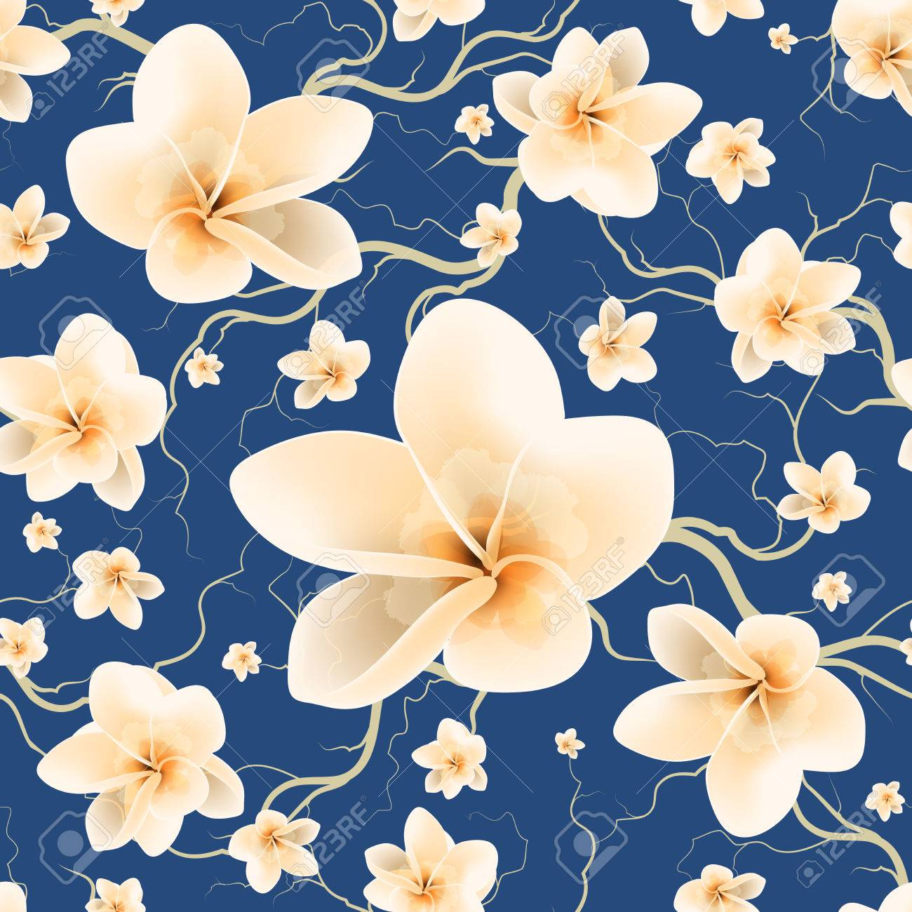 Floral Seamless Pattern With Branch And Spring Flowers - 76890357