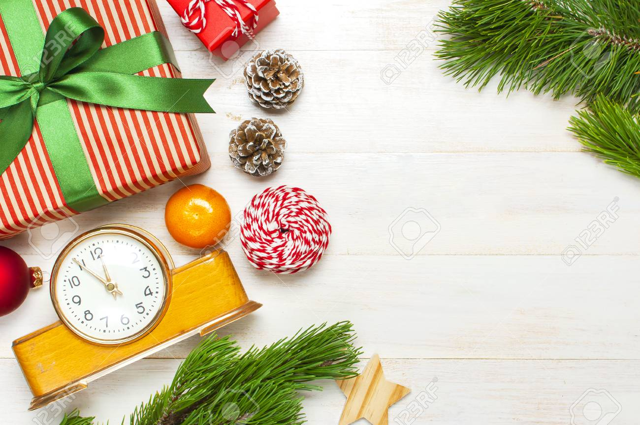 New Year Or Christmas Background Retro Alarm Clock Pine Branches Stock Photo Picture And Royalty Free Image Image 112009211