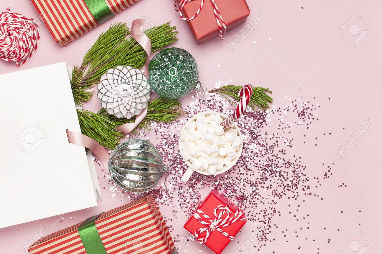 Flat Lay Top View White Gift Bag Holographic Glitter Confetti
