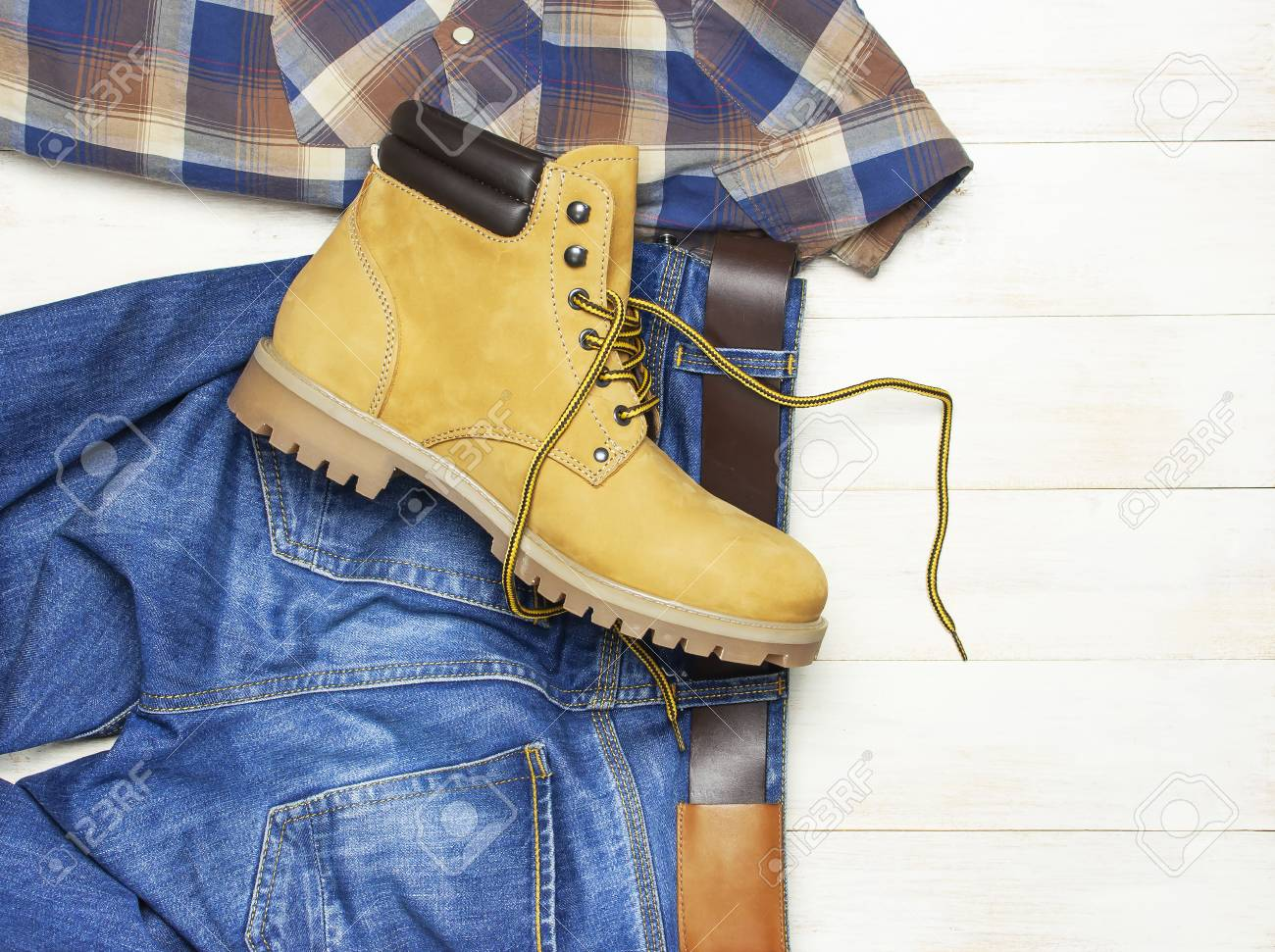 Men\u0027s casual wear, yellow work boots from natural nubuck leather,..