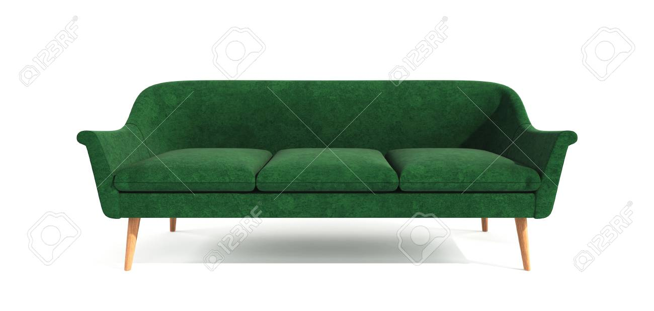 Green classic modern stylish sofa with wooden legs isolated on..