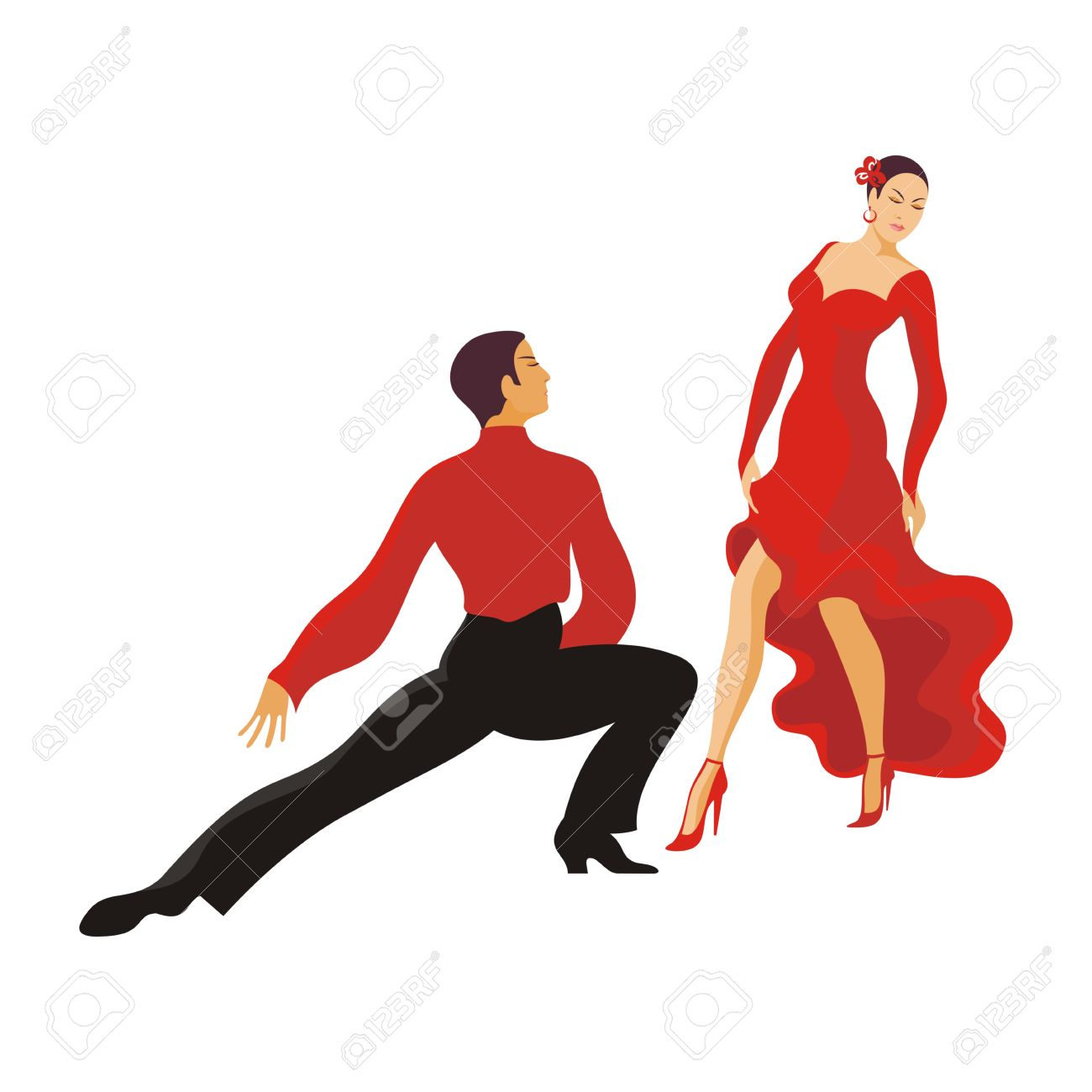 Hyggelig Paso Doble. Ballroom Dancing Couple Royalty Free Cliparts, Vectors GQ-24