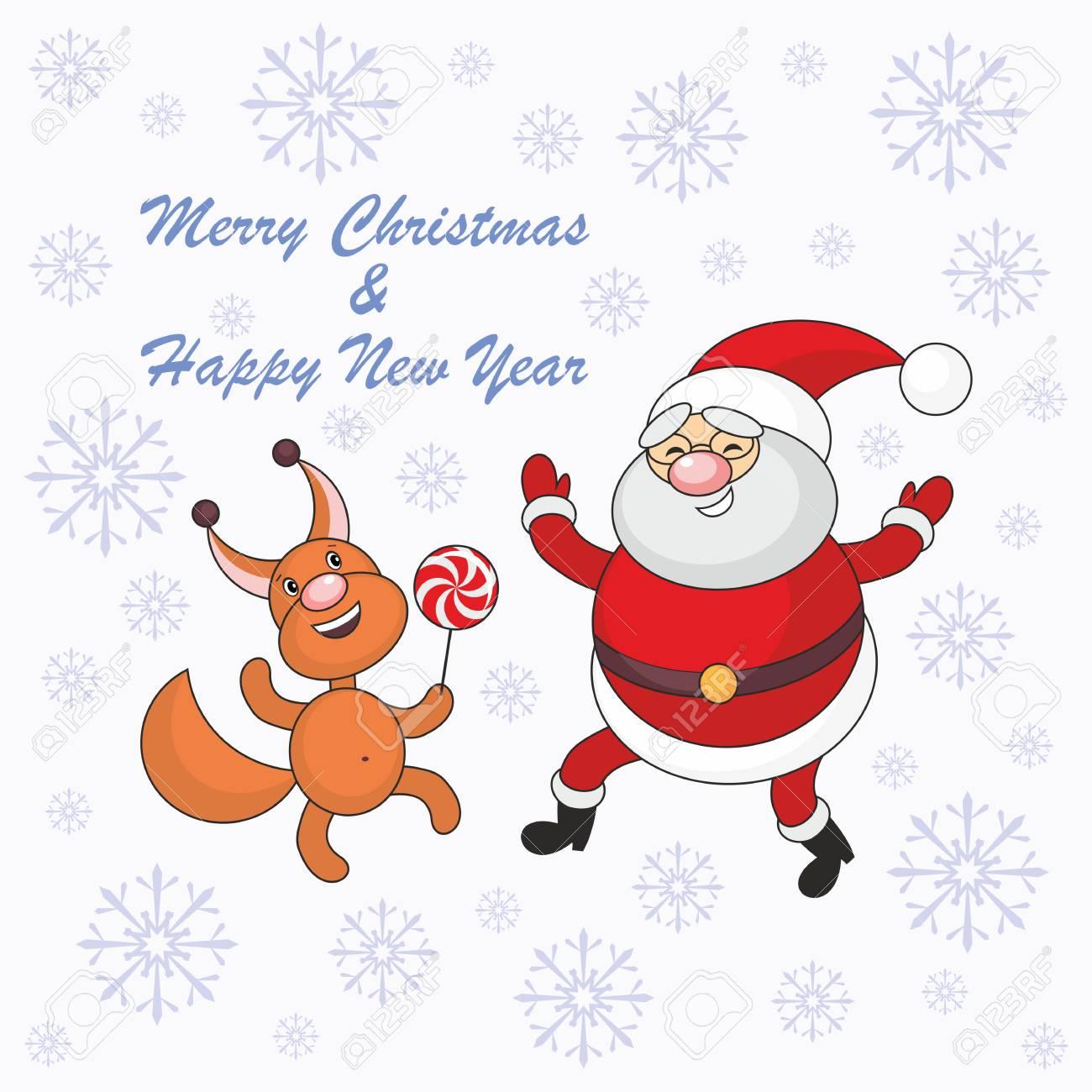Karte Frohe Weihnachten Und Neujahr Mit Santa Claus Bild Und ...