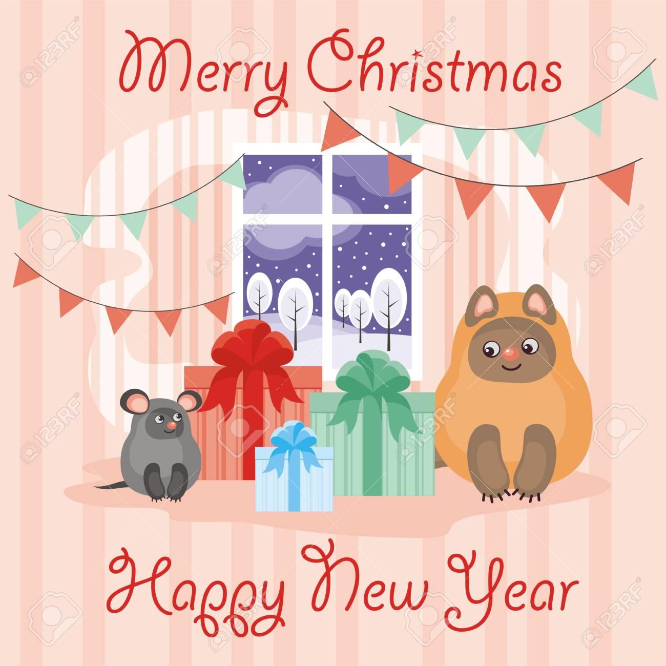 Conosciuto Auguri Di Natale Con Un Gatto E Al Topo Divertente. Sfondo Per  QV75