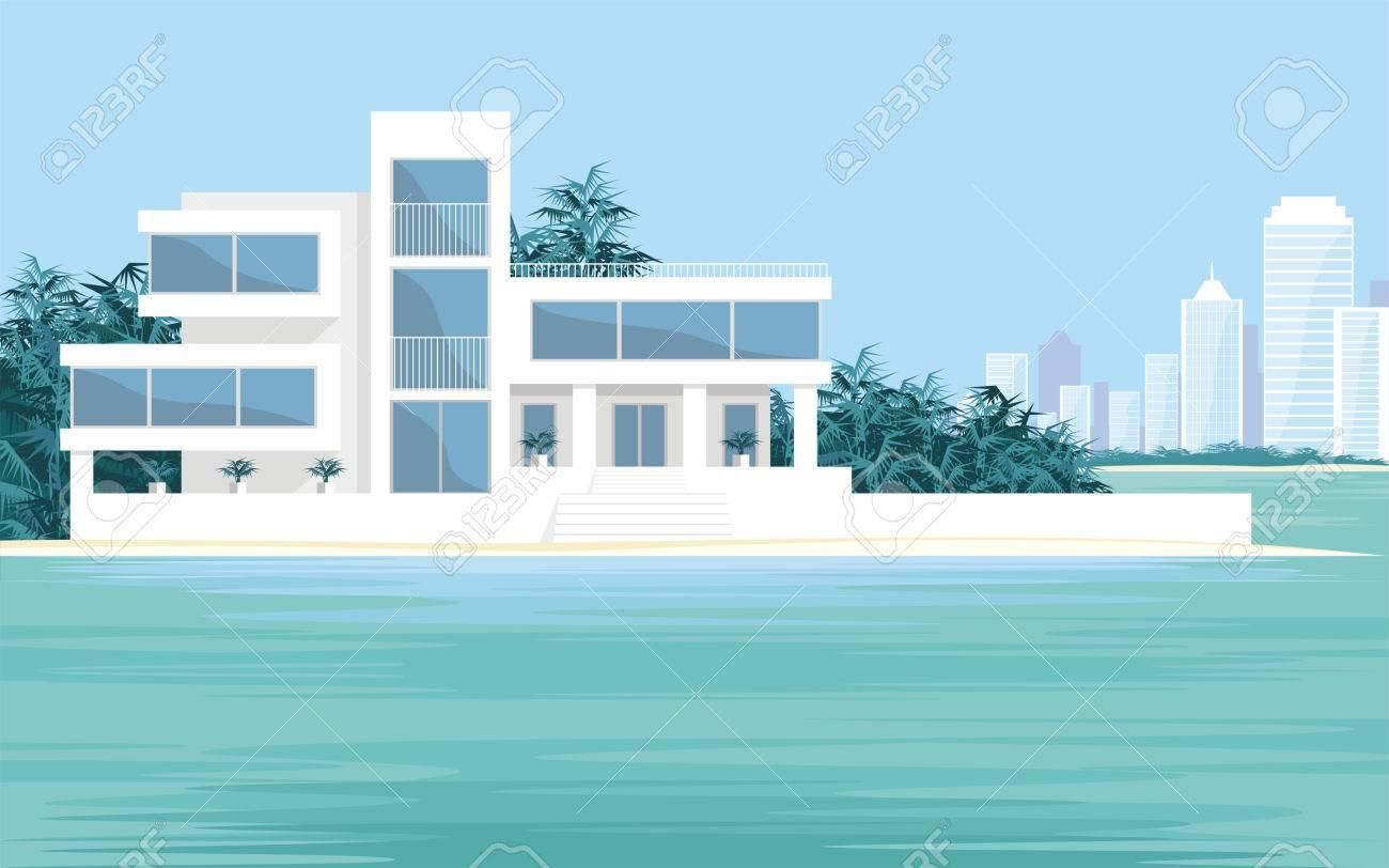 abstract image dune grande belle maison de campagne sur un fond d