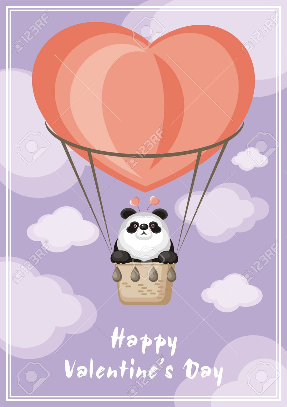 Greeting Card Happy Valentines Day Funny Animal Flying In A