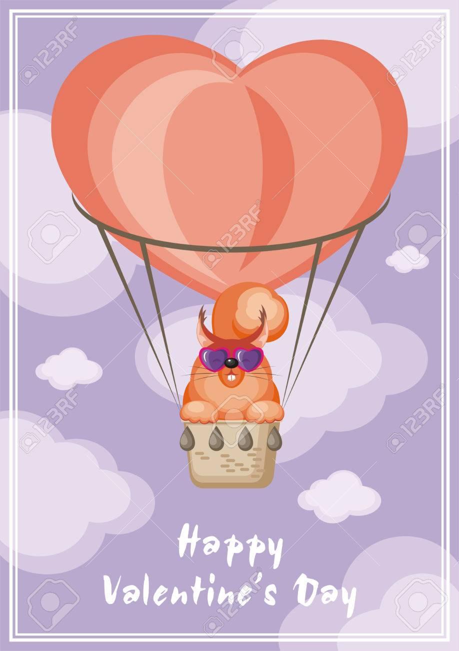 Grusskarte Glucklich Valentinstag Lustige Tier Fliegen In Einem