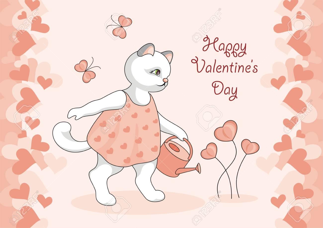 Carte De Voeux Bonne Saint Valentin Image De Dessin Anime De