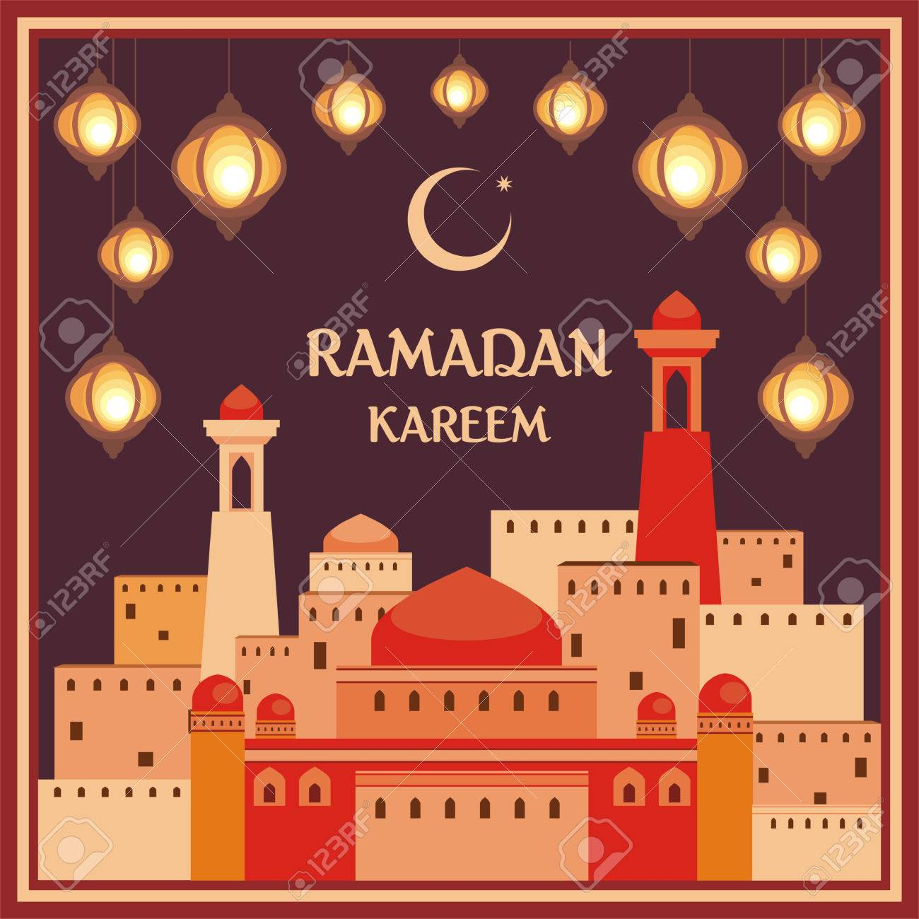 Ramadan greeting card with the image of the beautiful lanterns