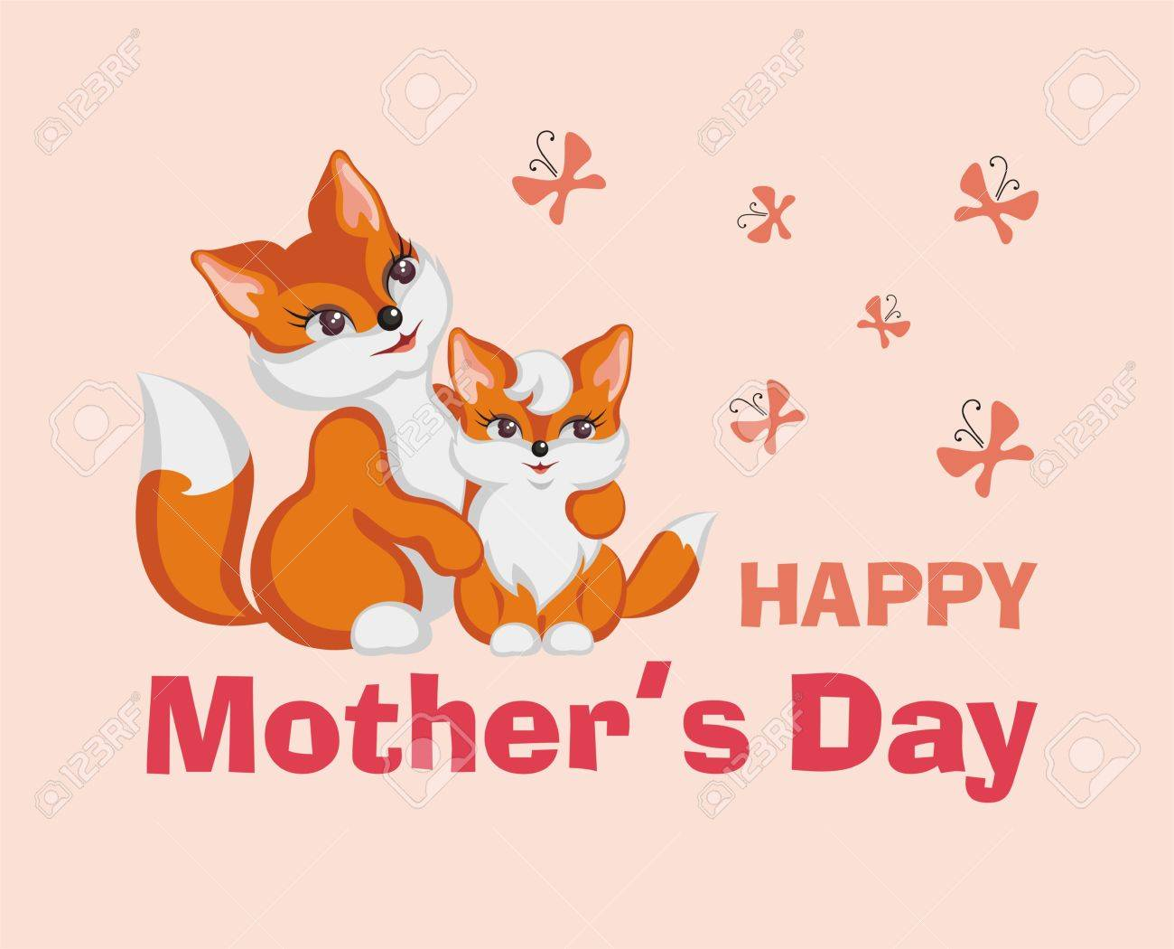 Happy Mothers Day Greeting Card With The Image Of Cute Animals