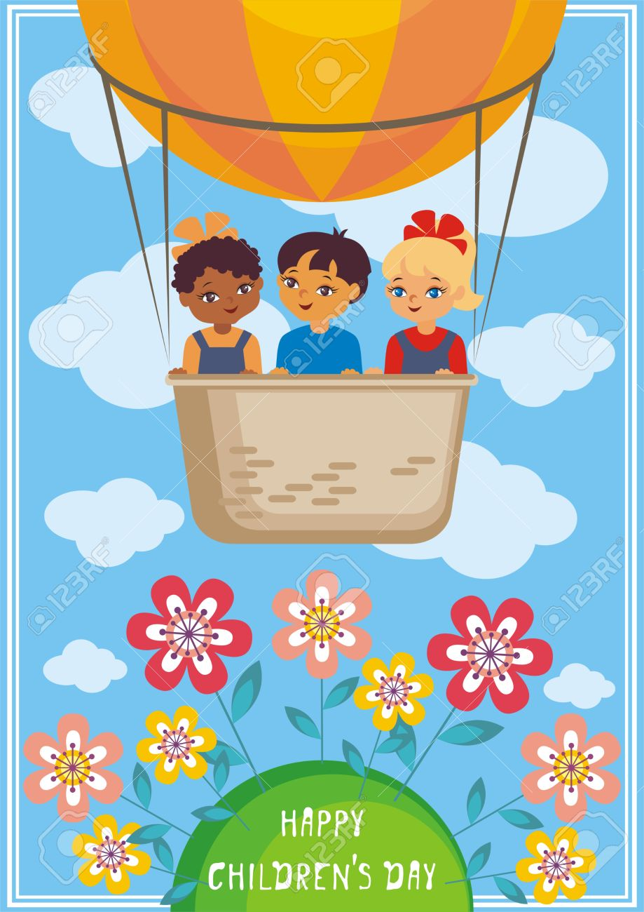 Happy Childrens Day Greeting Card With The Image Of The Hot Air