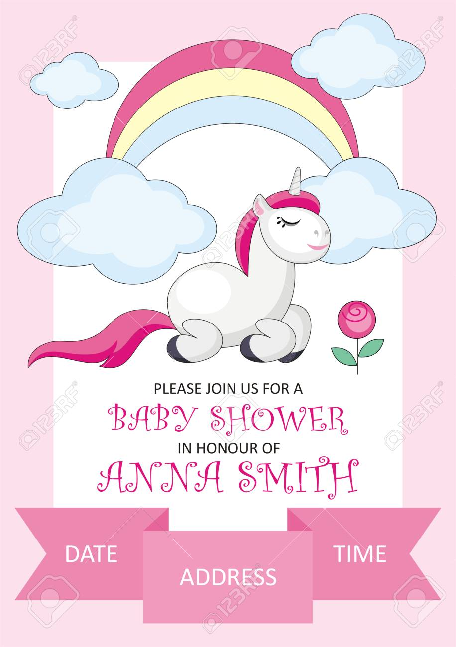 Baby Shower Invitation Template With The Image Of Cute Unicorn ...