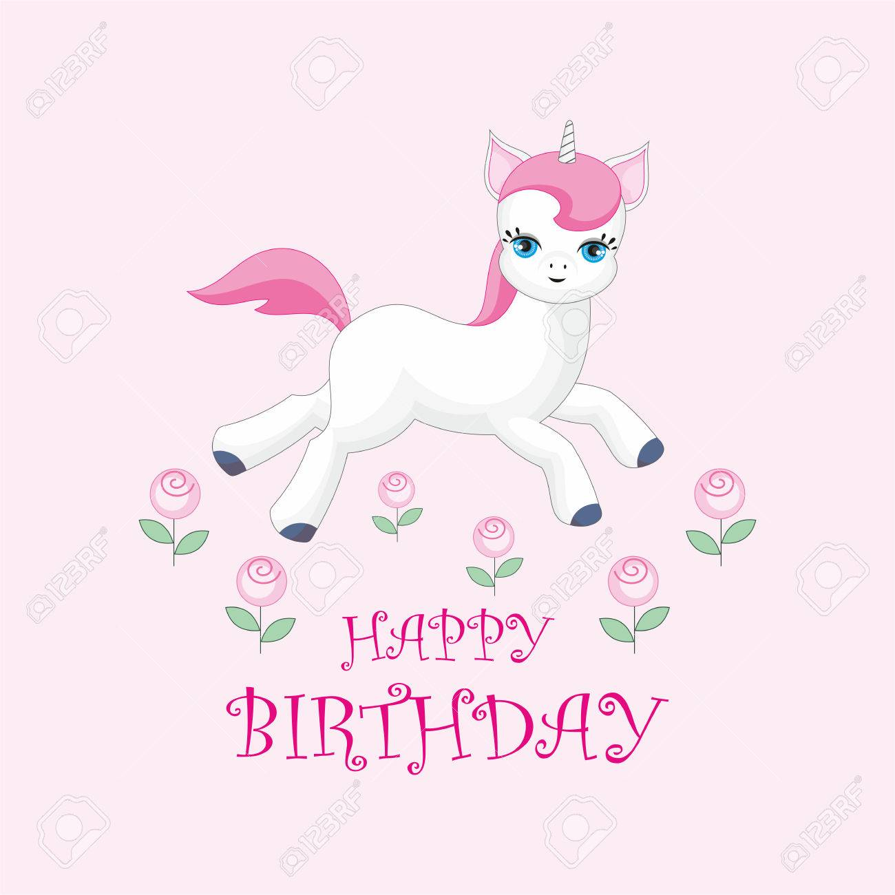 Happy Birthday Greeting Card With The Image Of Cute Unicorn Colorful Vector Illustration Stock