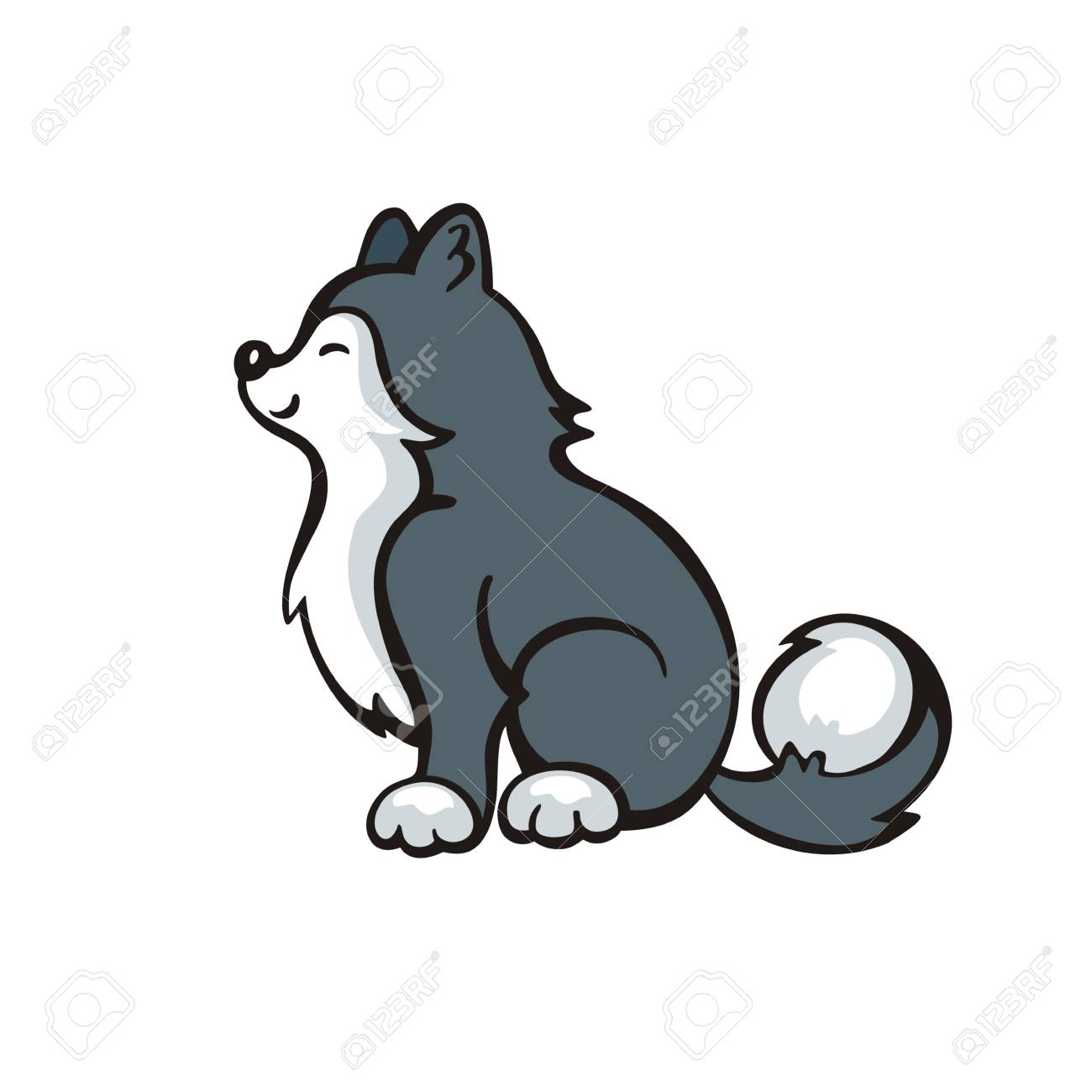 面白いのハスキー犬ベクトル イラスト漫画のスタイルでのイラスト
