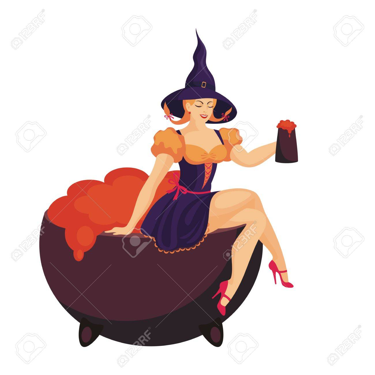 Beautiful young woman in a witch costume holding a mug of beer Stock Vector - 87468331  sc 1 st  123RF.com & Beautiful Young Woman In A Witch Costume Holding A Mug Of Beer ...