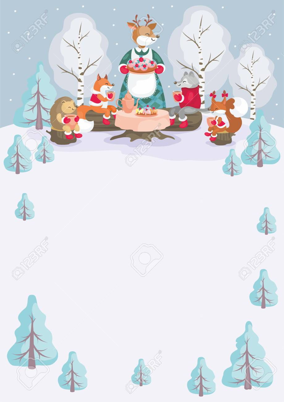 Christmas Background Clipart.Christmas Background With The Image Of Cute Woodland Animals