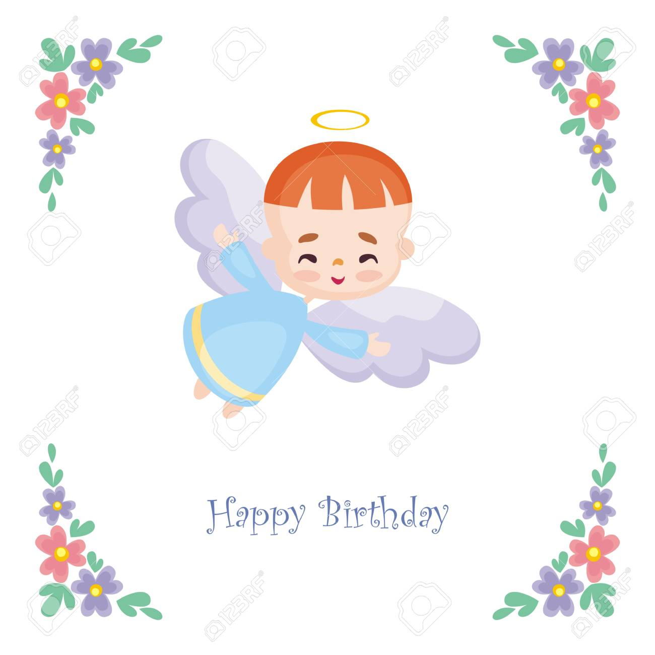 Birthday greeting card with the image of a pretty little angel birthday greeting card with the image of a pretty little angel vector illustration on a m4hsunfo