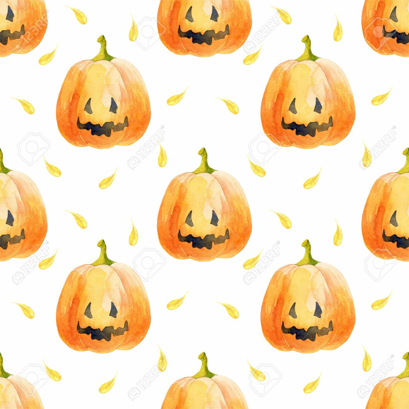 Halloween Seamless Pattern With Funny Pumpkins Watercolor