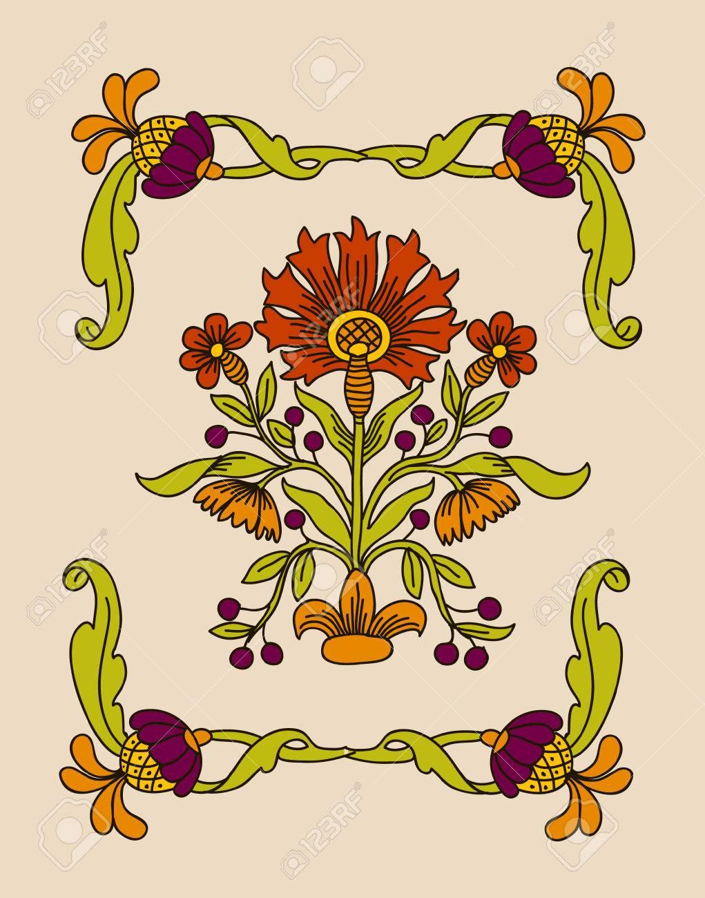 Art Nouveau Flowers Vector Vector Vector Art Nouveau