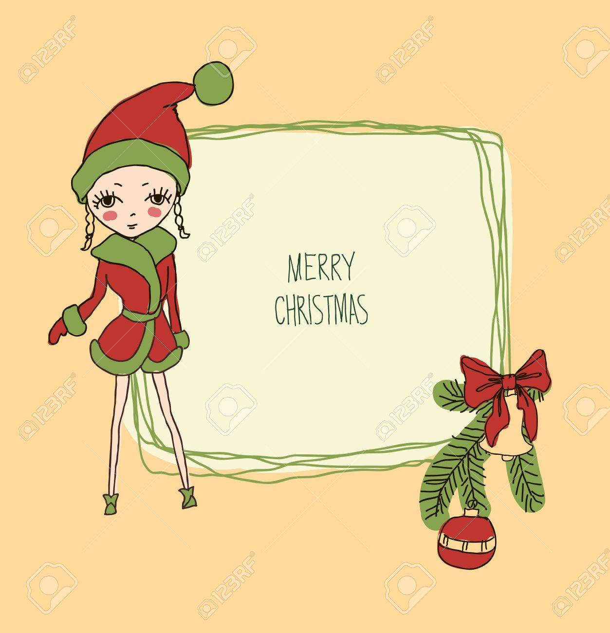 ccccef1b76dc8 Cute Christmas card in vector. Bright holiday background with small funny  angel in New Year