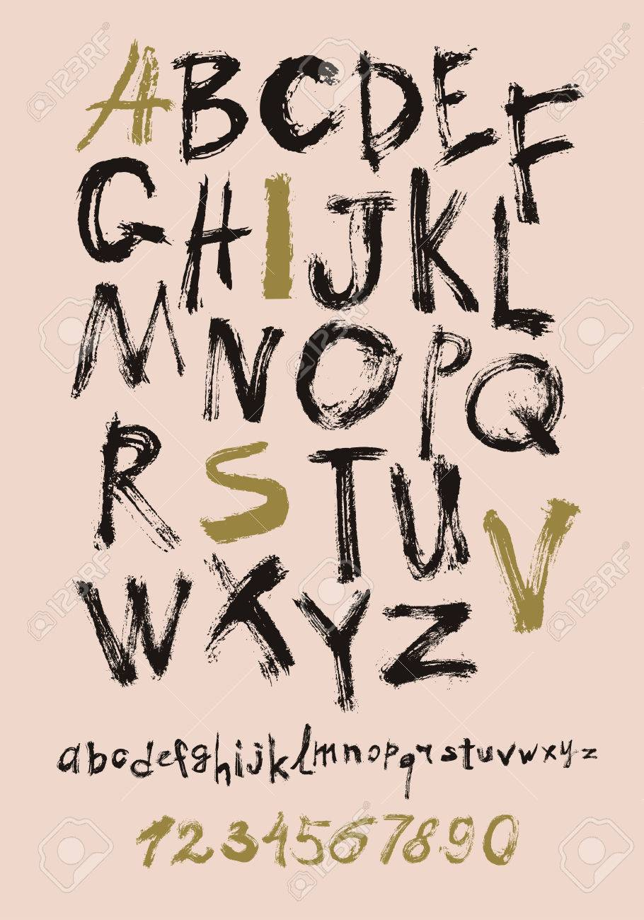 Alphabet Letters Lowercase, Uppercase And Numbers. Vector Alphabet ...
