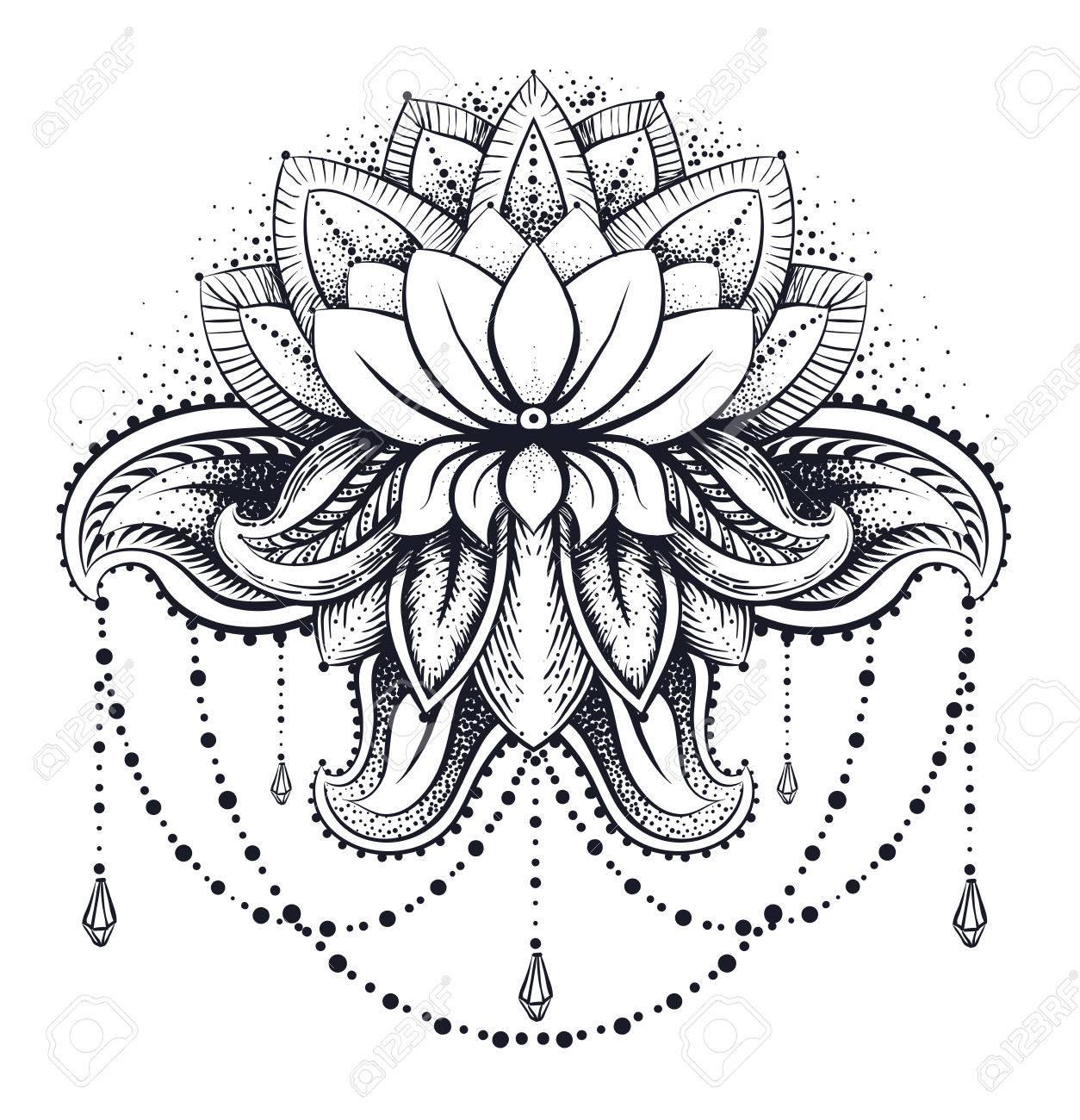 Vector Ornamental Lotus tnica Tatuaje De Henna Zentangled Paisley