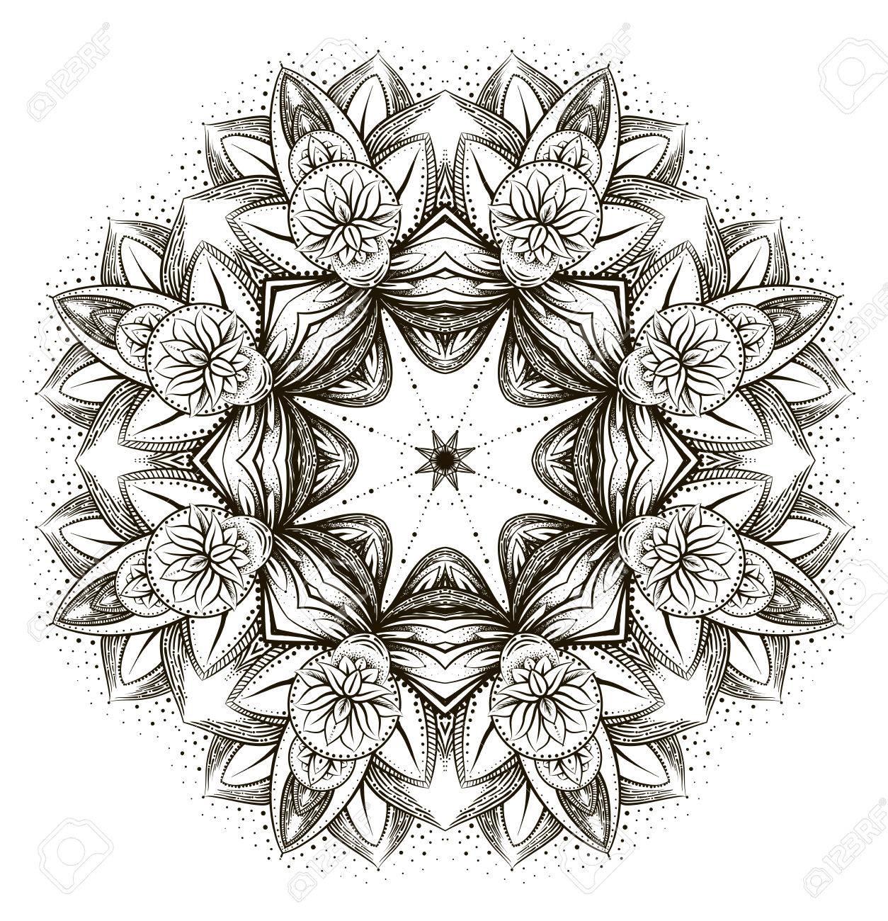 Coloriage Anti Stress Indien.Vector Ornement Lotus Ethnique Tatouage Au Henne Paisley Indien A Motifs Pour Anti Stress Coloriage Adultes Main Illustration Dessinee Dans Le