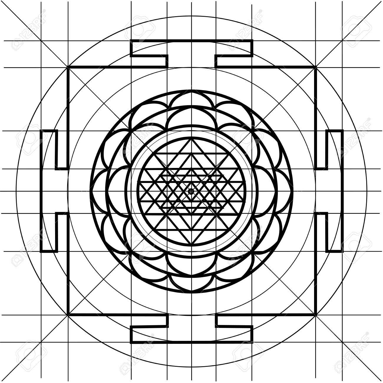 Sree Yantra. Sacred Geometry Coloring Book Royalty Free Cliparts ...