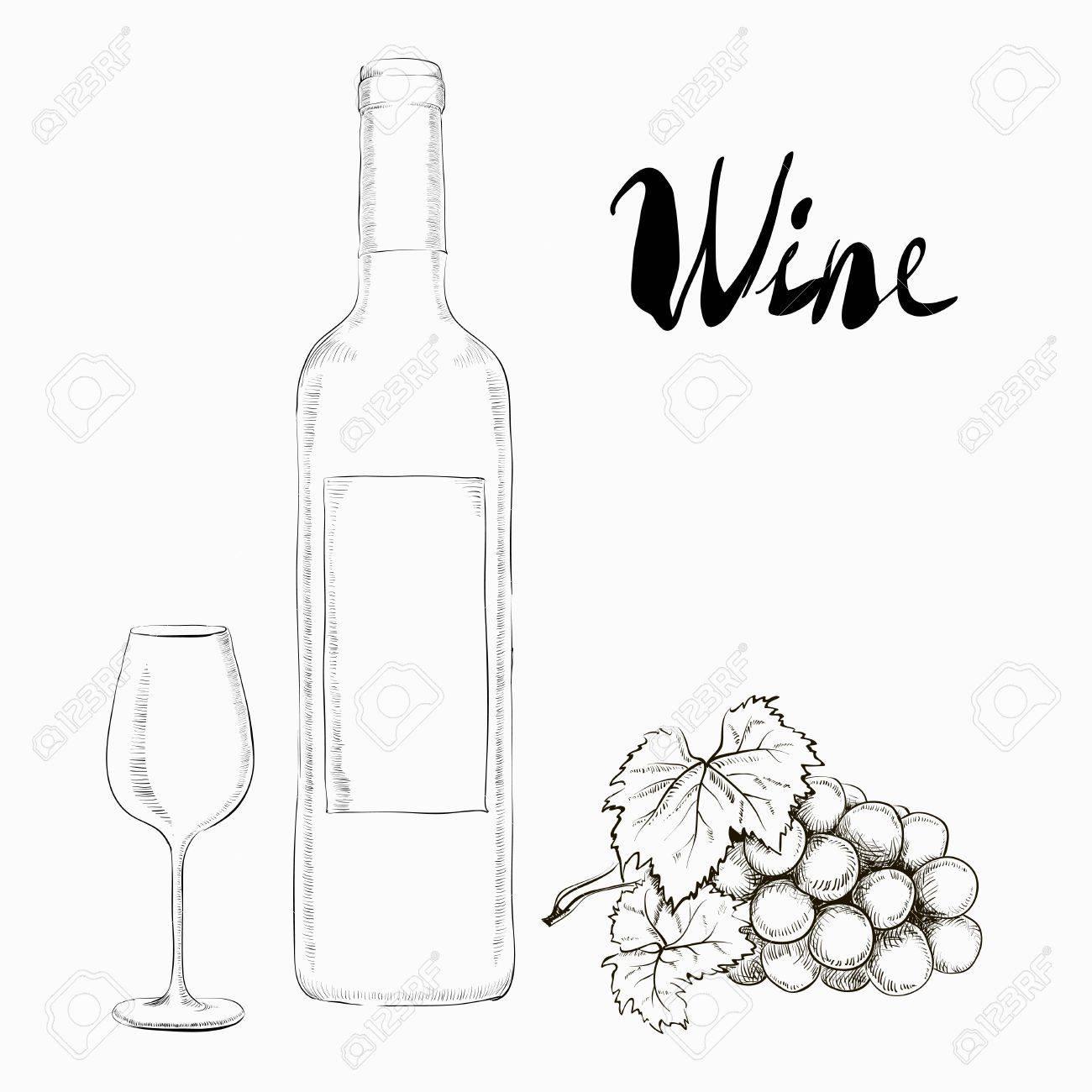 Illustration à dessin dessinée Verre et bouteille de vin