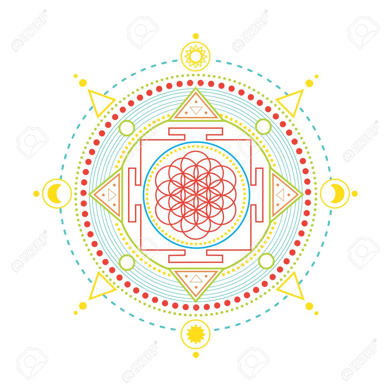 vector gold monochrome design abstract mandala flower of life sacred geometric shape illustration Flower of life, ethnic zentangled henna tattoo, patterned Indian paisley for adult anti stress coloring pages. - 145753029