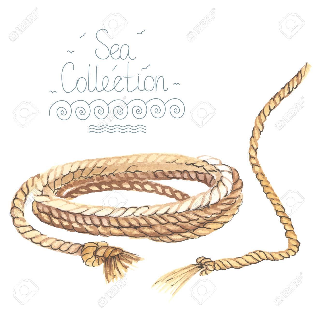 Aquarell Nautische Seil Isoliert Auf Weißem Hintergrund. Made In ...