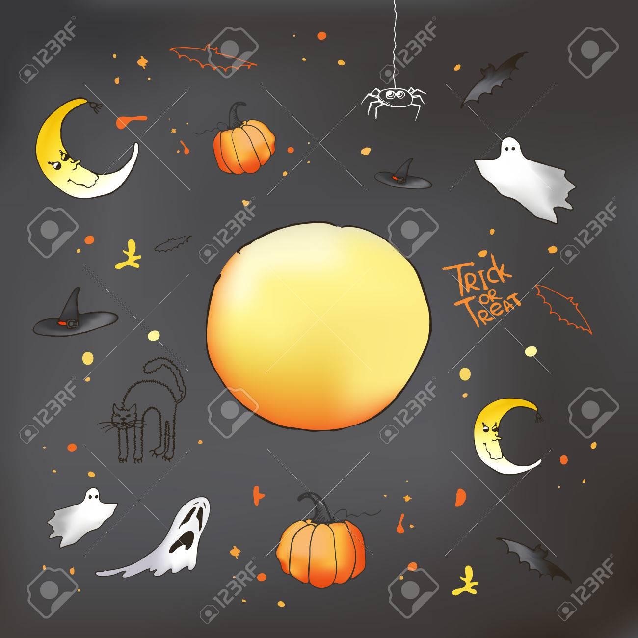 Vector Halloween Card On Grey Background. Pumpkin, Ghost, Bat ...