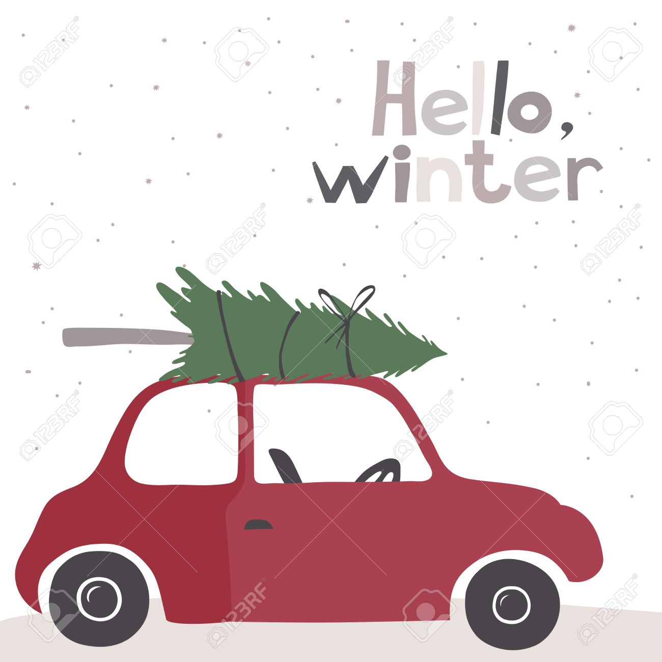 Winter Vector Card With A Little Red Vintage Car Carrying A  - Christmas Tree On Car