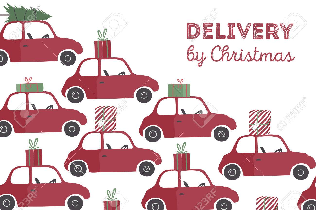 Spesial christmas delivery vector Illustration. Small red car with gifts and christmas tree on the top. - 48976329