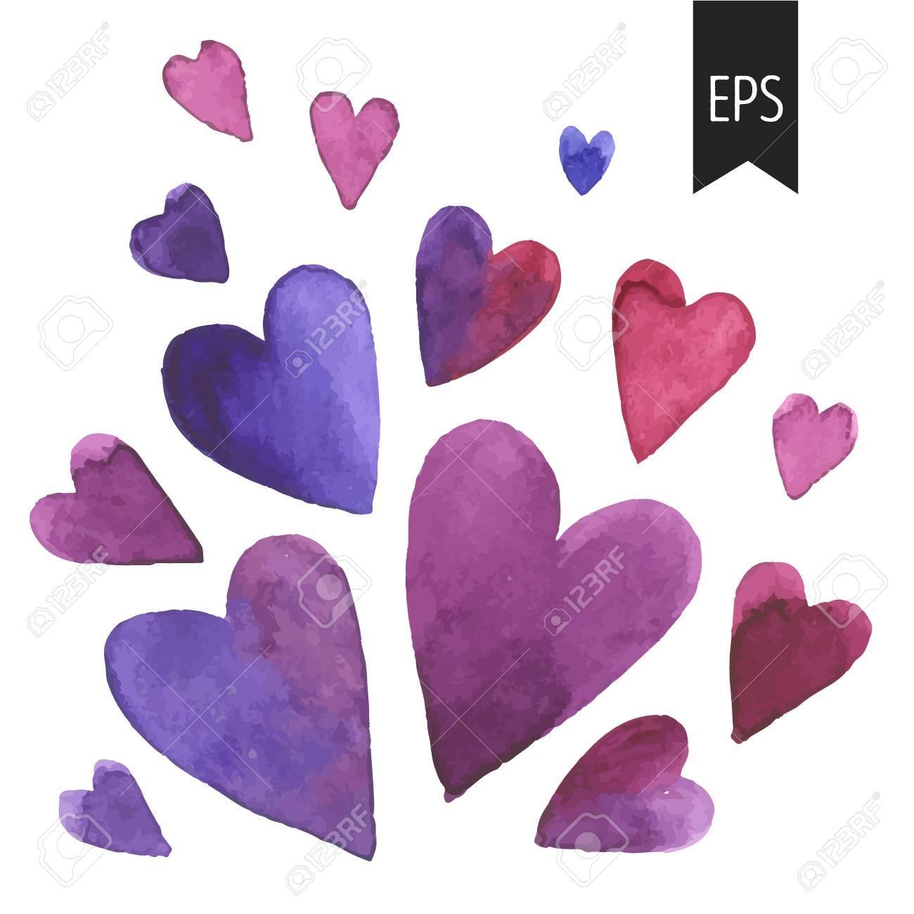 Set Lila Aquarell Herzen Herzen Auf Weissem Hintergrund Elemente