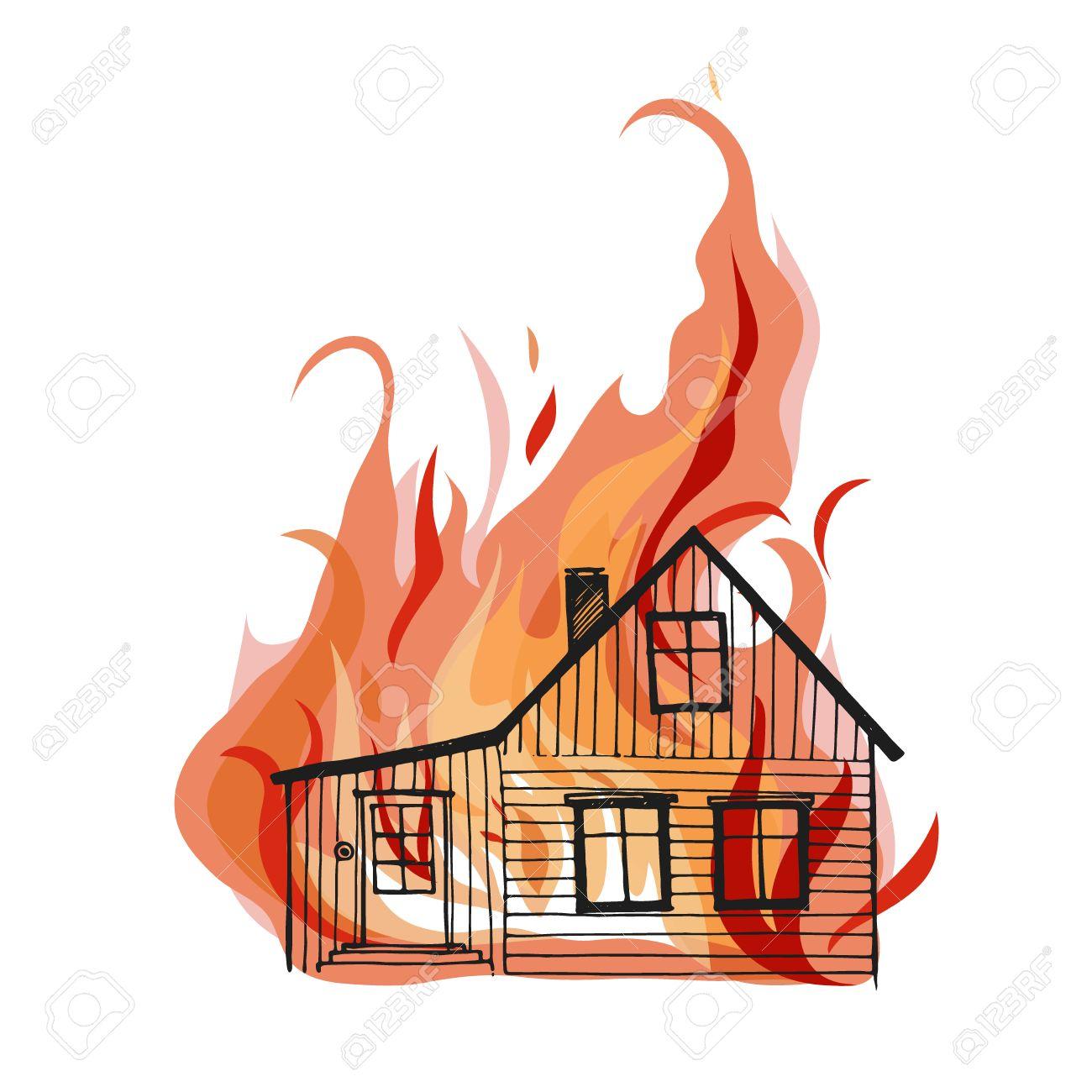 Brennendes Haus Auf Weißem Hintergrund. Groß Für Irgendwelche ...