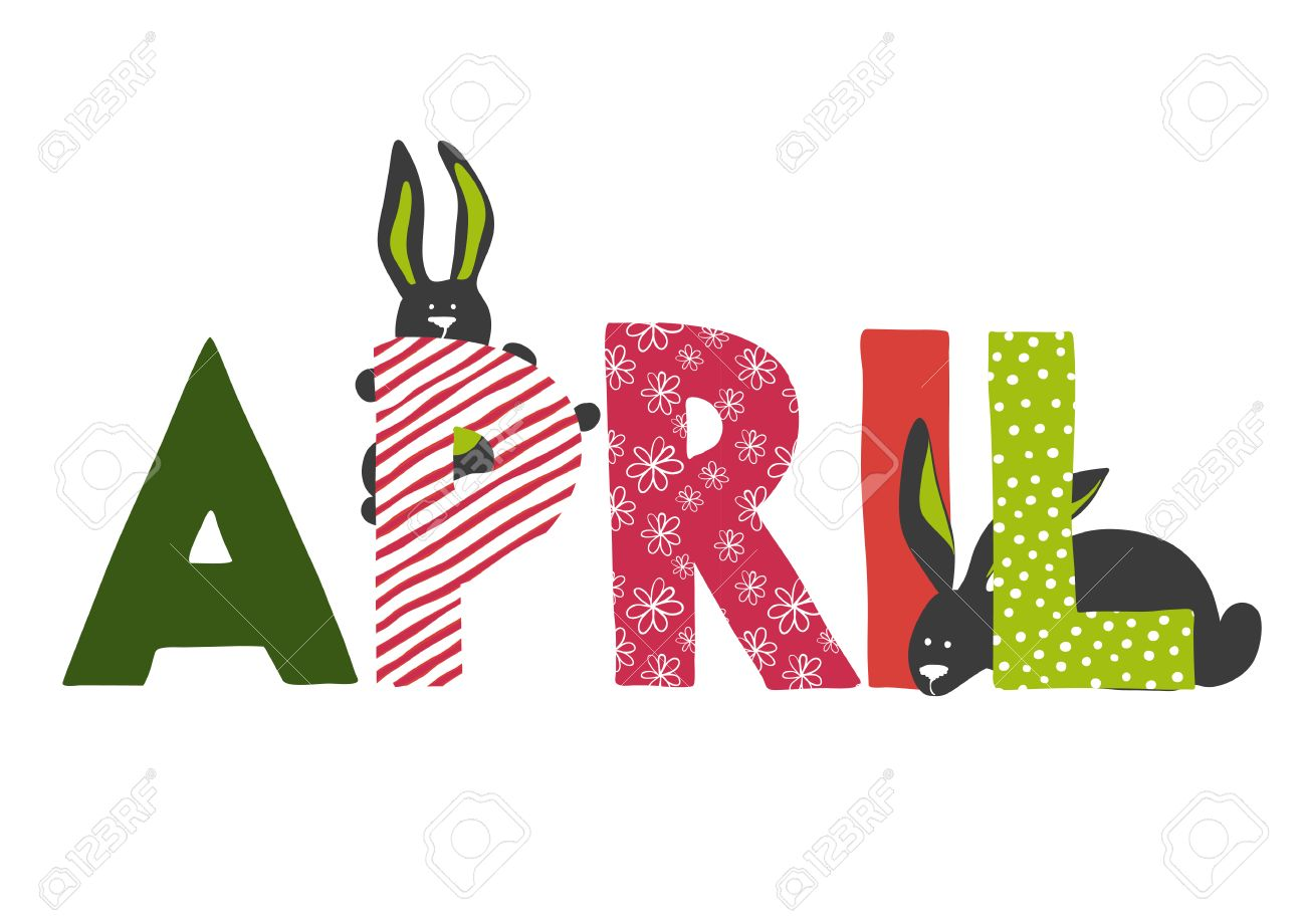illustration of April month name  Lettering with rabbits