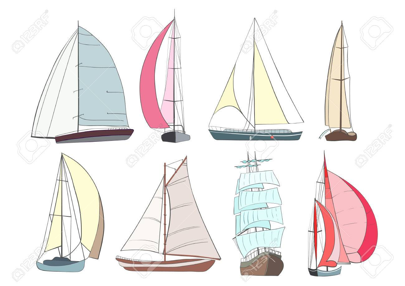 Set of boats with sails made in the isolated on white background. Sport yacht, sailboat. - 53635405