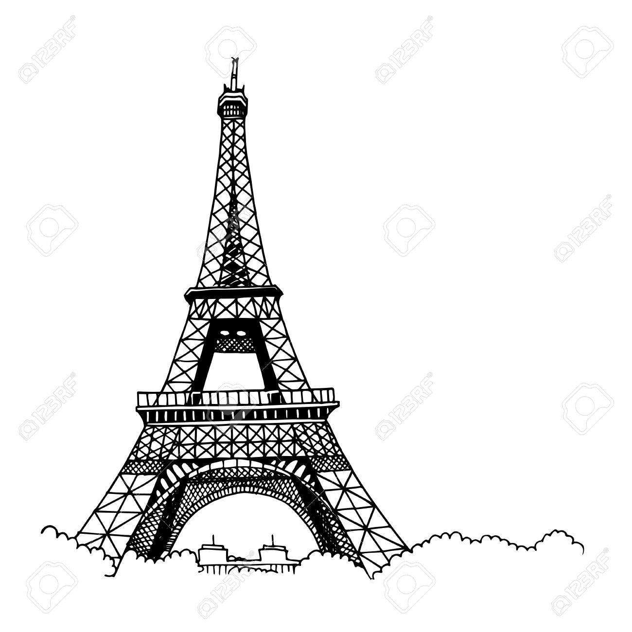 Hand drawn Eiffel Tower. Simple sketch style. Black contour isolated on white background. - 58971542