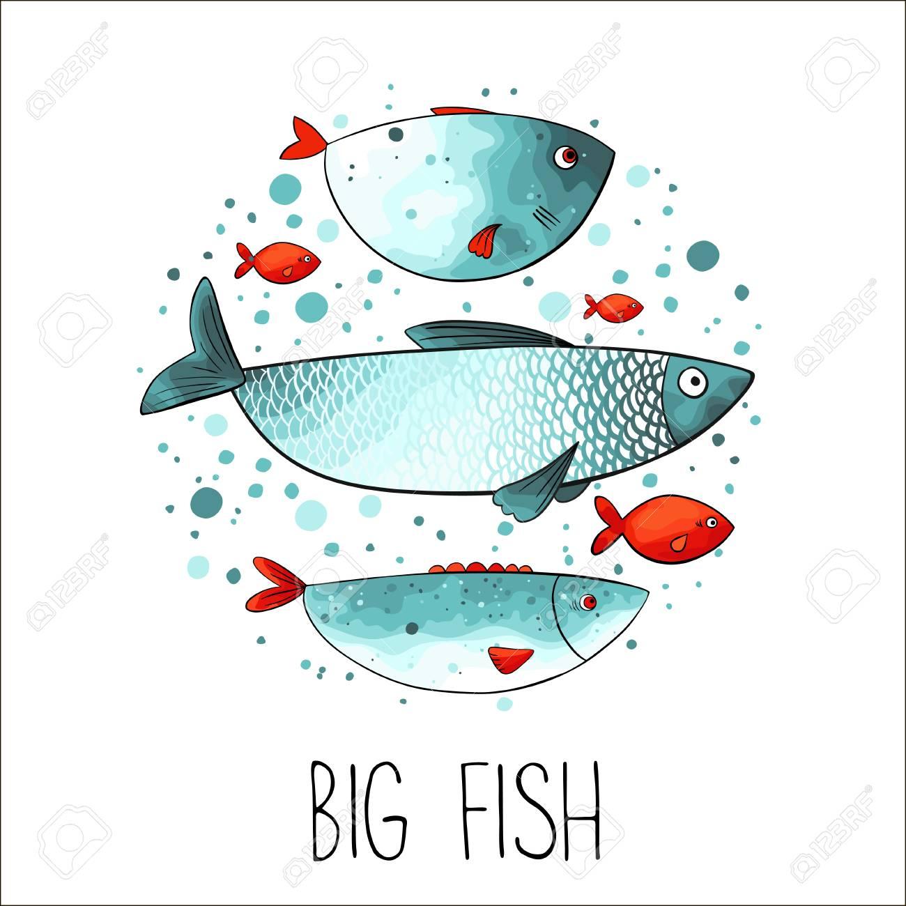 Lustige Fische Im Kreis Gemacht In Türkis Und Roten Farben ...
