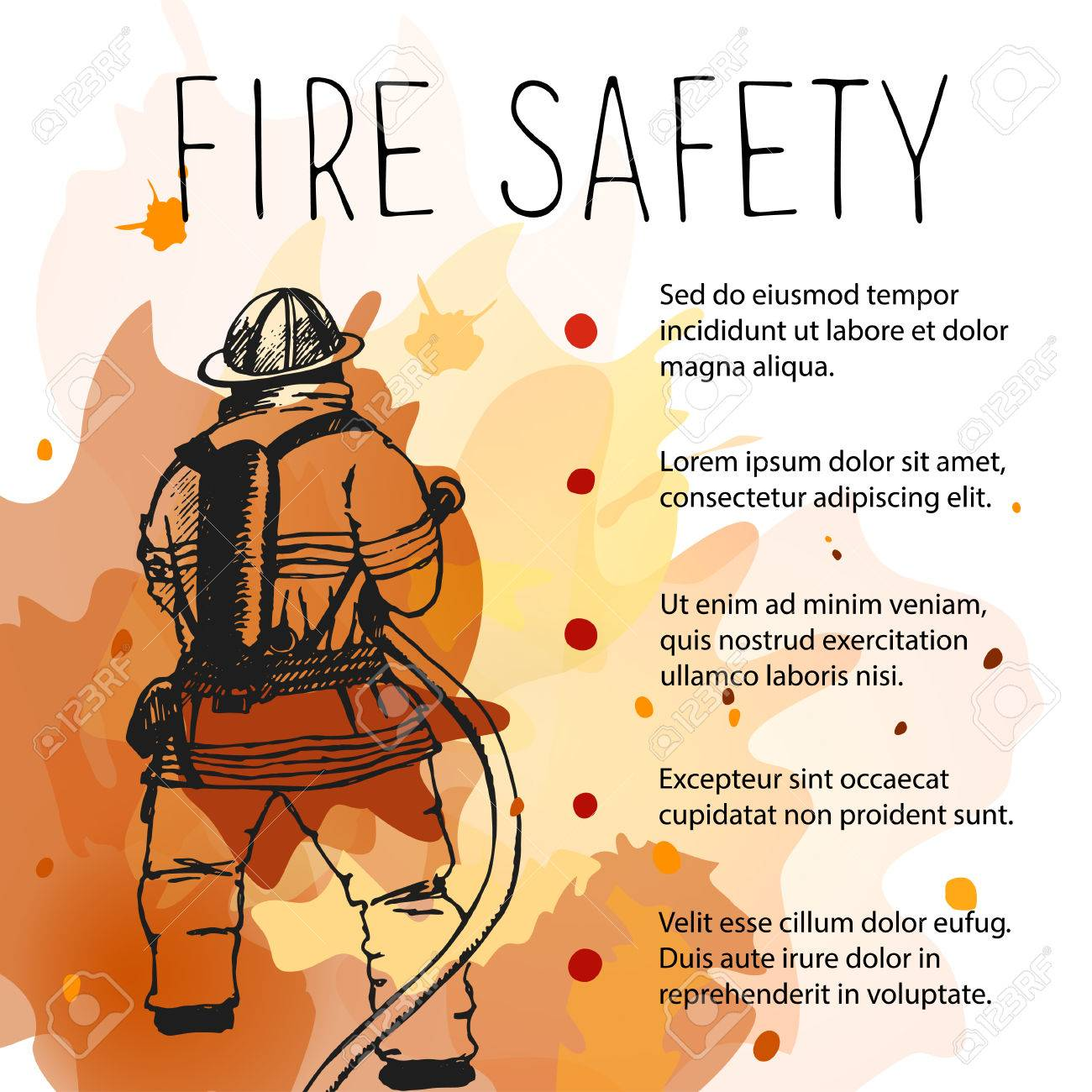 template of fire safety placard silhouette of firefighter on